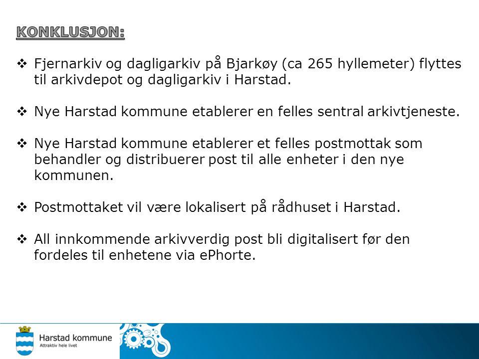 KONKLUSJON: Fjernarkiv og dagligarkiv på Bjarkøy (ca 265 hyllemeter) flyttes til arkivdepot og dagligarkiv i Harstad.