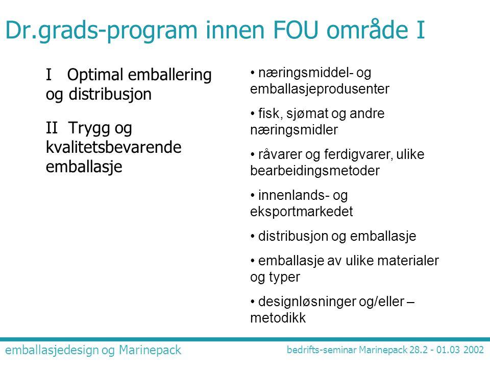 Dr.grads-program innen FOU område I