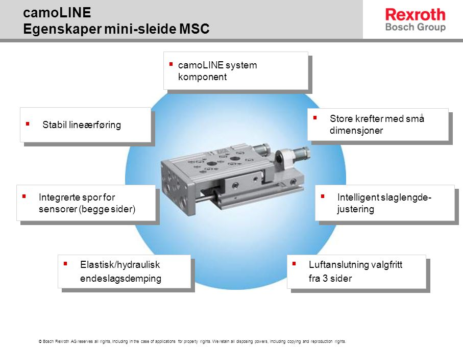 camoLINE Egenskaper mini-sleide MSC