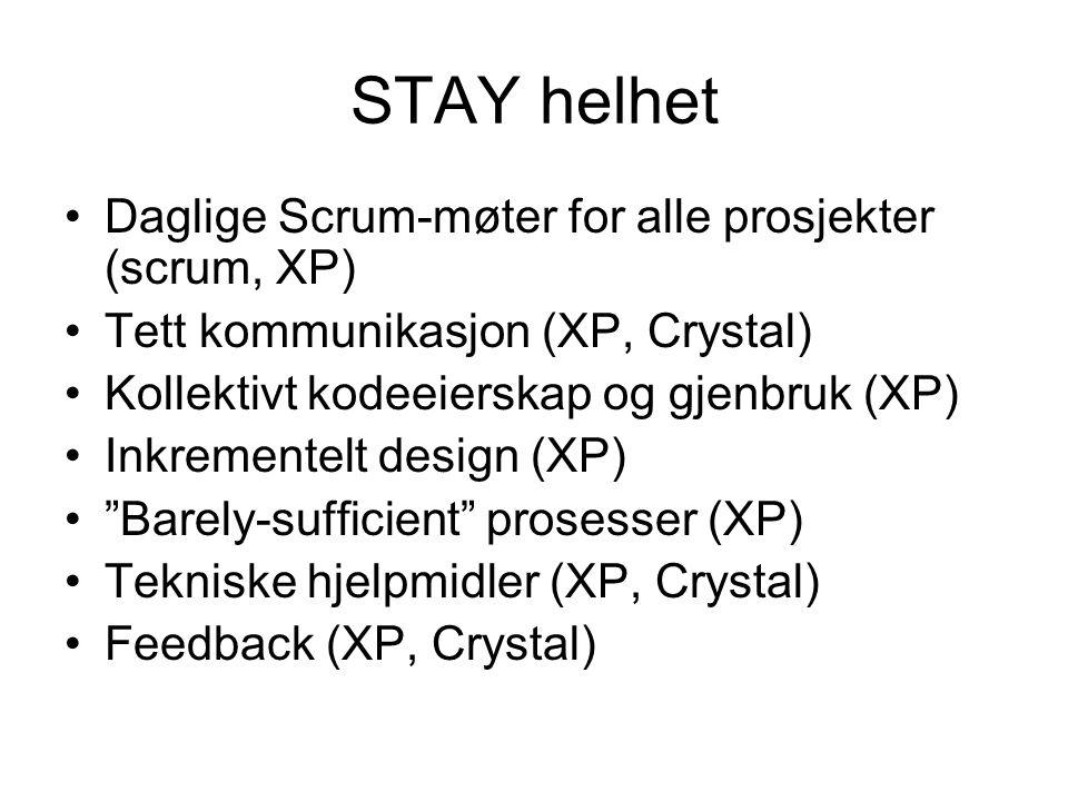 STAY helhet Daglige Scrum-møter for alle prosjekter (scrum, XP)