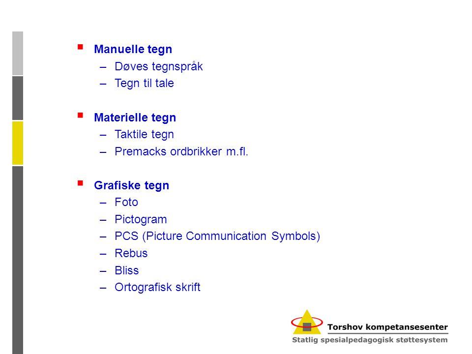 Manuelle tegn Døves tegnspråk. Tegn til tale. Materielle tegn. Taktile tegn. Premacks ordbrikker m.fl.