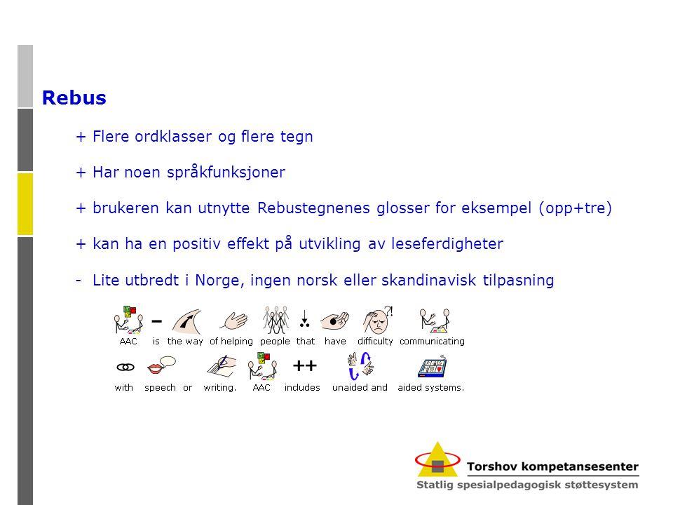 Rebus + Flere ordklasser og flere tegn + Har noen språkfunksjoner