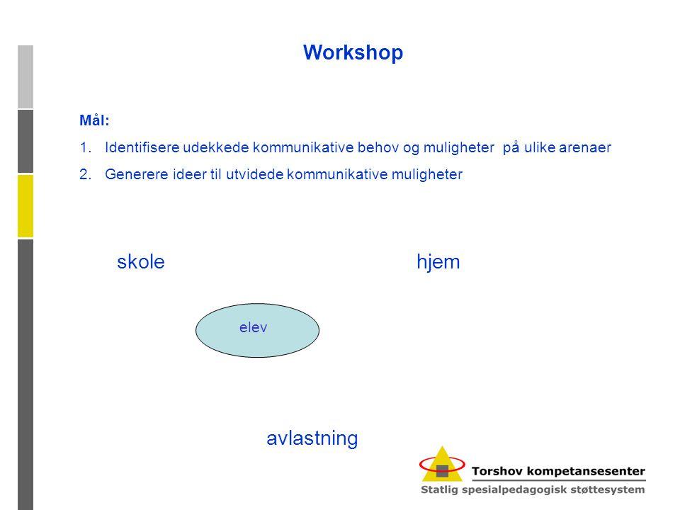 Workshop skole hjem avlastning Mål: