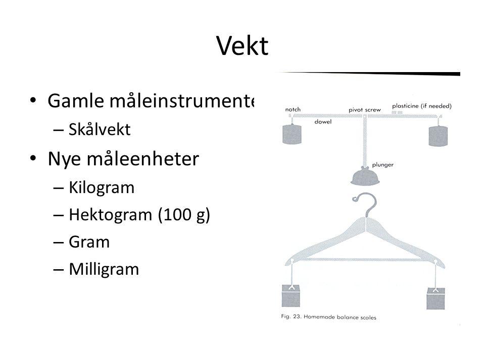 Vekt Gamle måleinstrumenter Nye måleenheter Skålvekt Kilogram