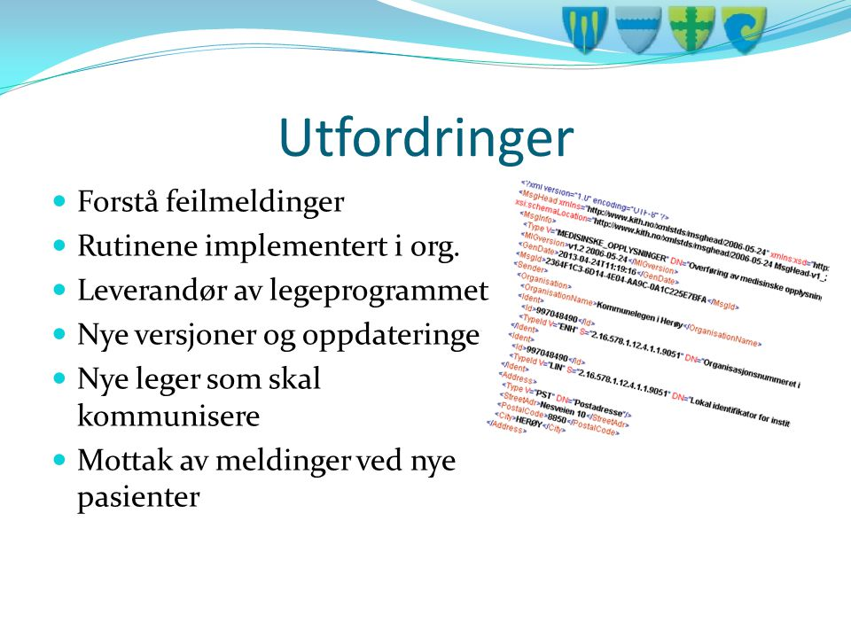 Utfordringer Forstå feilmeldinger Rutinene implementert i org.