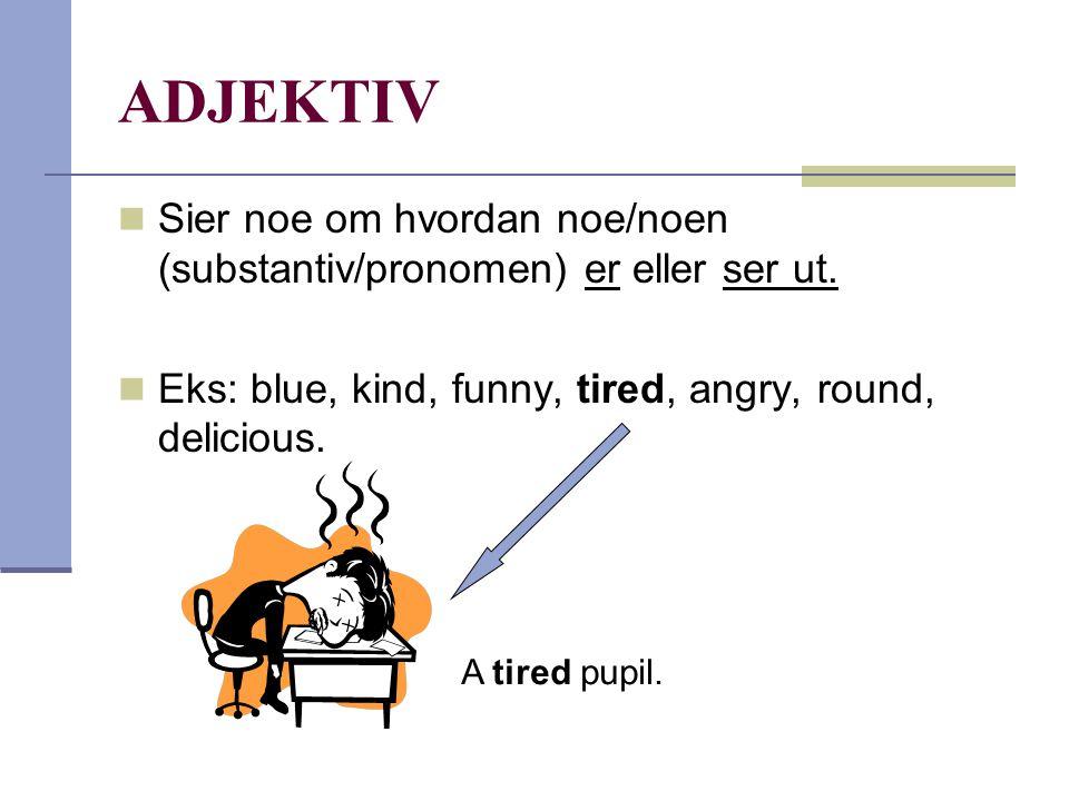ADJEKTIV Sier noe om hvordan noe/noen (substantiv/pronomen) er eller ser ut. Eks: blue, kind, funny, tired, angry, round, delicious.