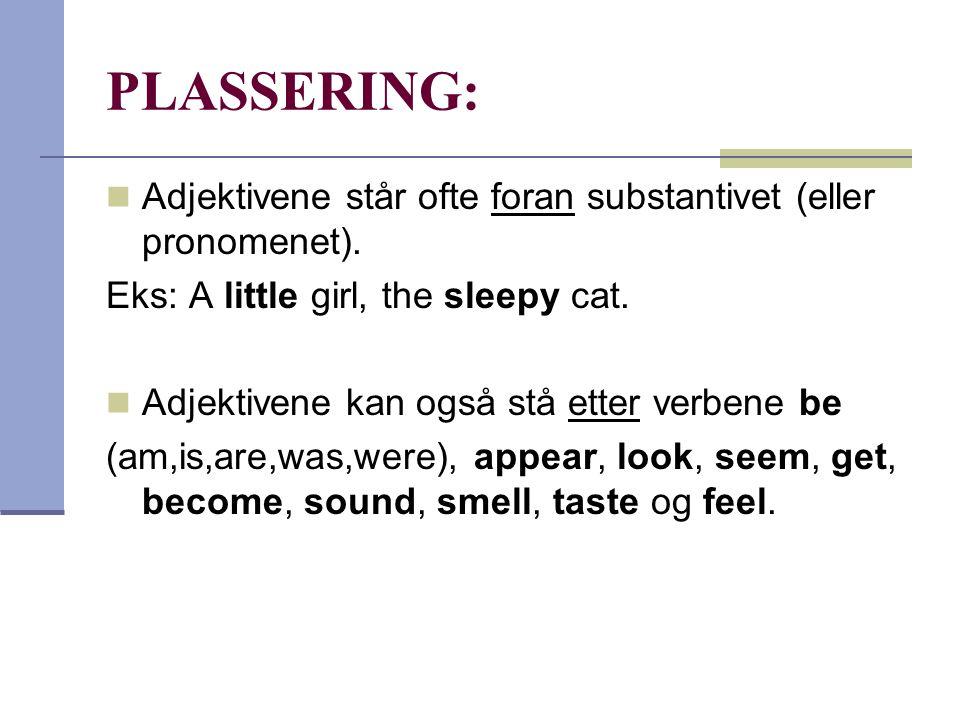 PLASSERING: Adjektivene står ofte foran substantivet (eller pronomenet). Eks: A little girl, the sleepy cat.