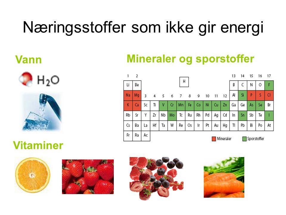 Næringsstoffer som ikke gir energi