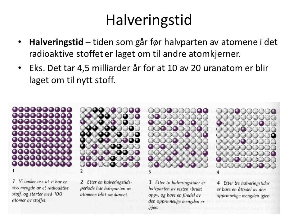 Halveringstid Halveringstid – tiden som går før halvparten av atomene i det radioaktive stoffet er laget om til andre atomkjerner.