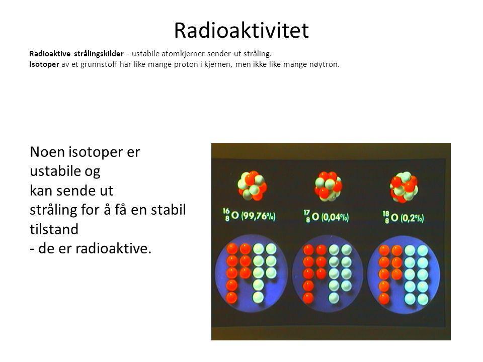 Radioaktivitet Noen isotoper er ustabile og kan sende ut
