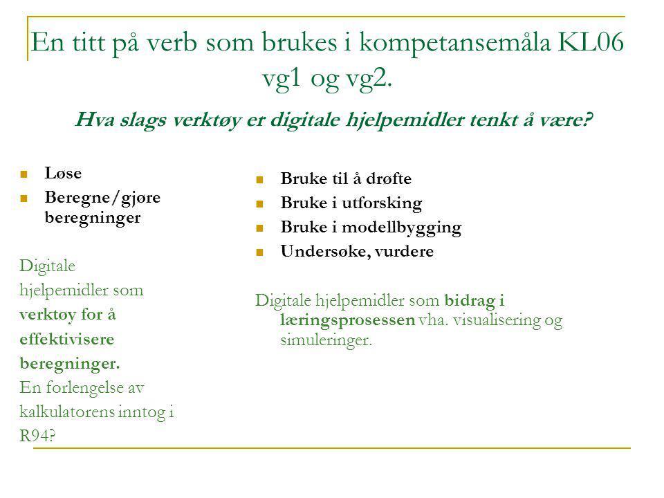 En titt på verb som brukes i kompetansemåla KL06 vg1 og vg2.