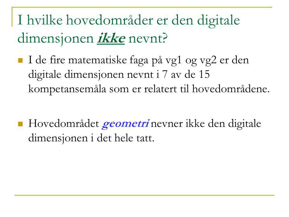 I hvilke hovedområder er den digitale dimensjonen ikke nevnt