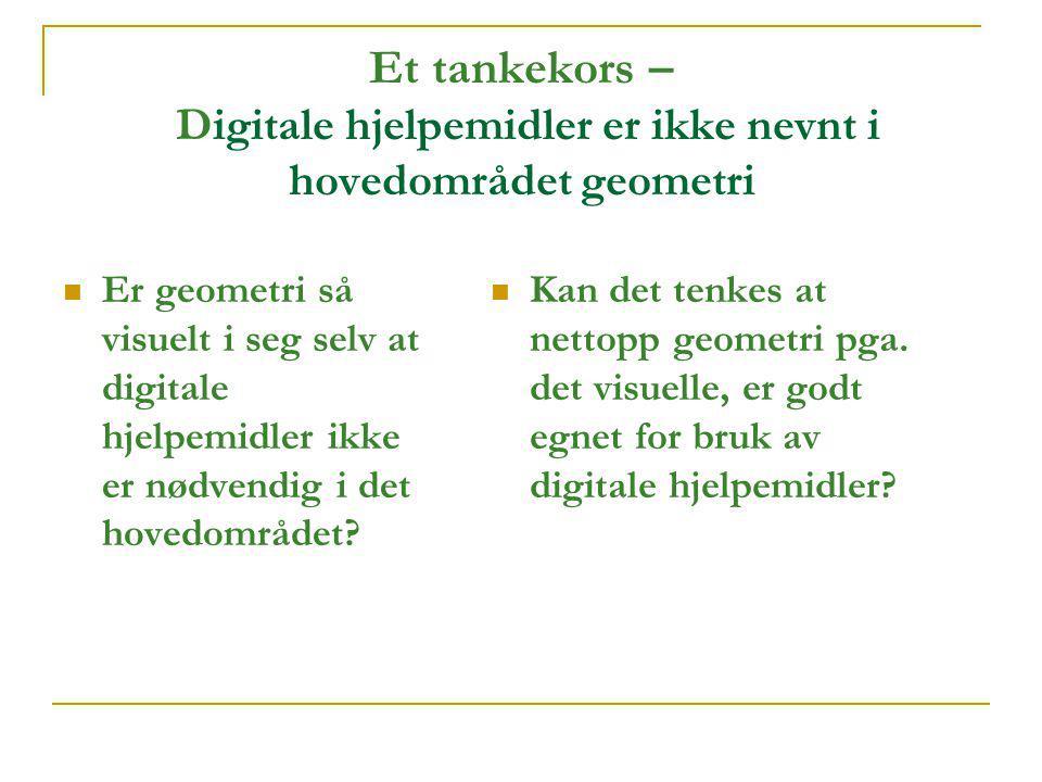 Et tankekors – Digitale hjelpemidler er ikke nevnt i hovedområdet geometri