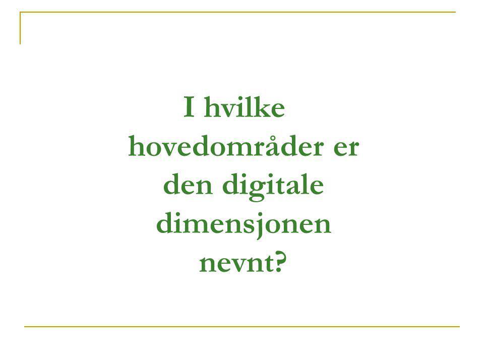 I hvilke hovedområder er den digitale dimensjonen nevnt