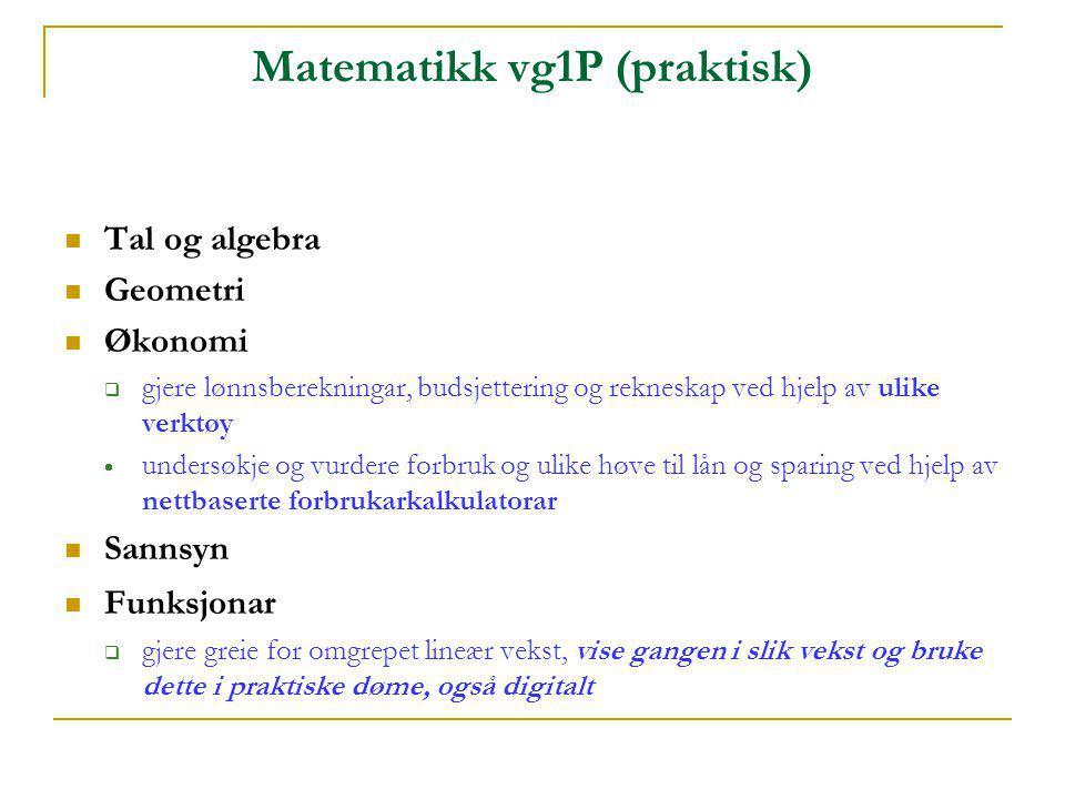 Matematikk vg1P (praktisk)