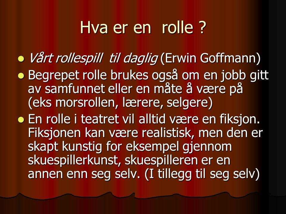 Hva er en rolle Vårt rollespill til daglig (Erwin Goffmann)