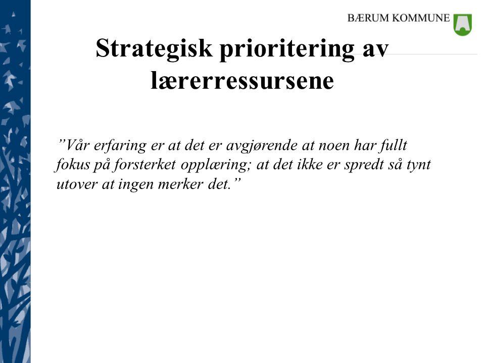 Strategisk prioritering av lærerressursene