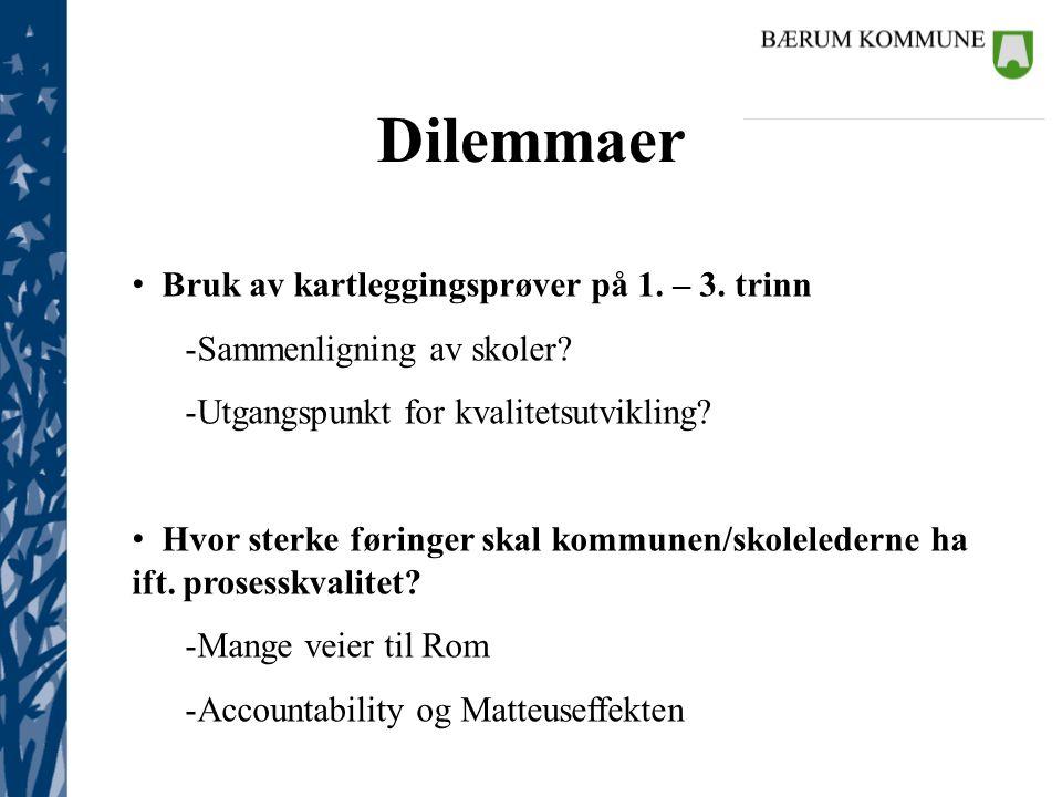Dilemmaer Bruk av kartleggingsprøver på 1. – 3. trinn