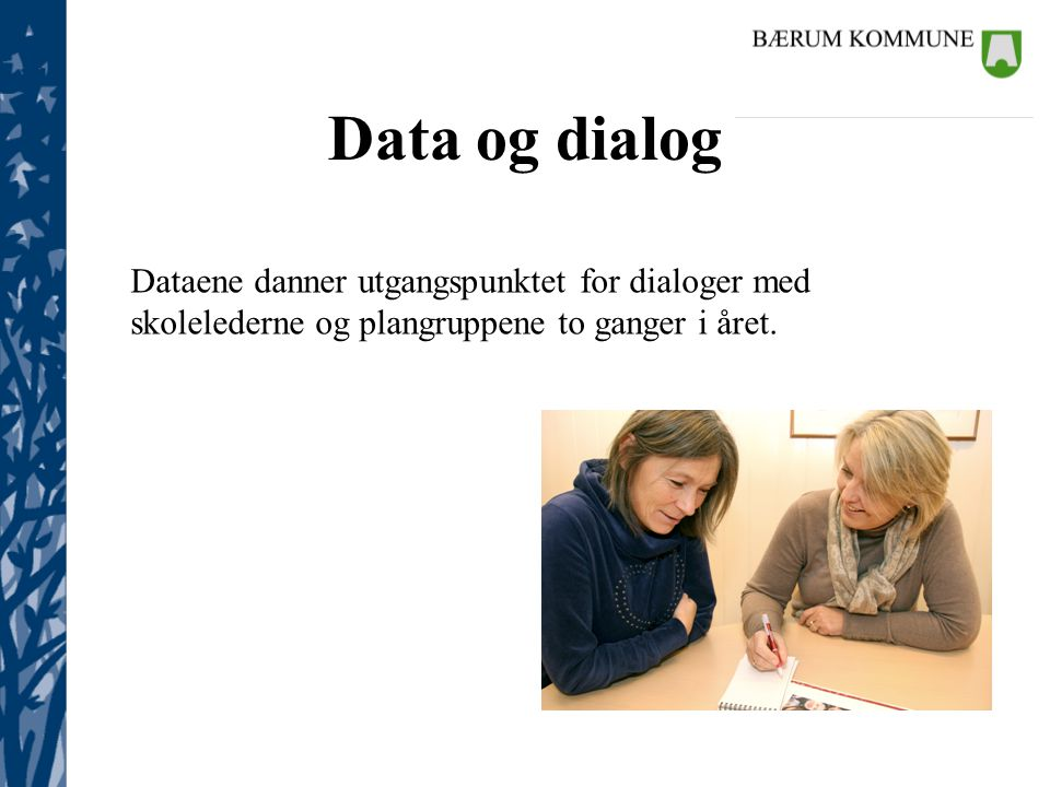 Data og dialog Dataene danner utgangspunktet for dialoger med skolelederne og plangruppene to ganger i året.