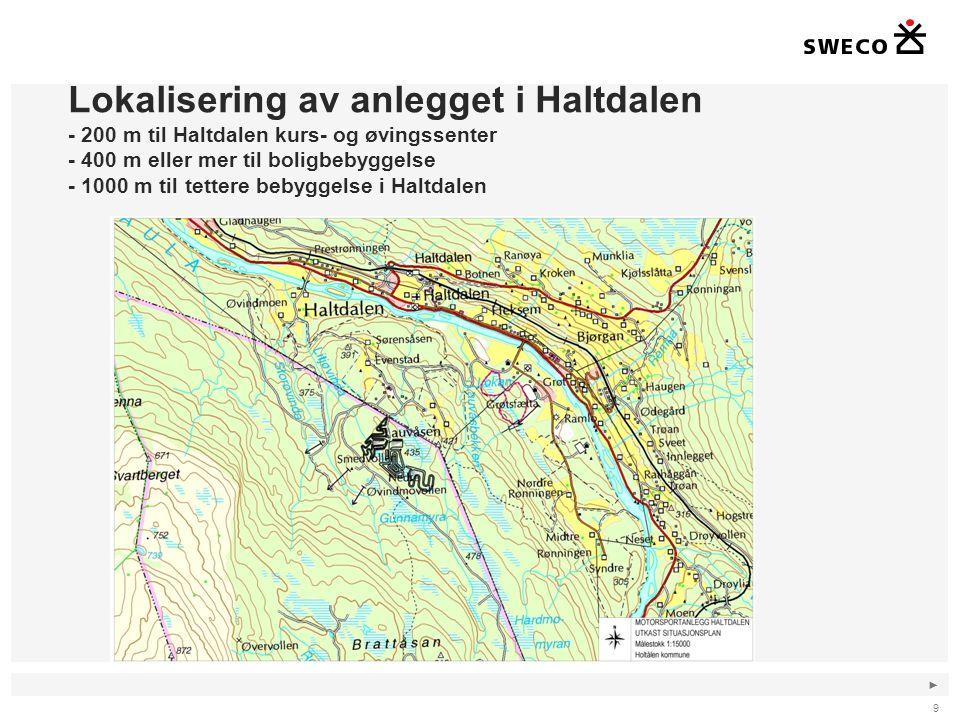 Lokalisering av anlegget i Haltdalen - 200 m til Haltdalen kurs- og øvingssenter - 400 m eller mer til boligbebyggelse - 1000 m til tettere bebyggelse i Haltdalen