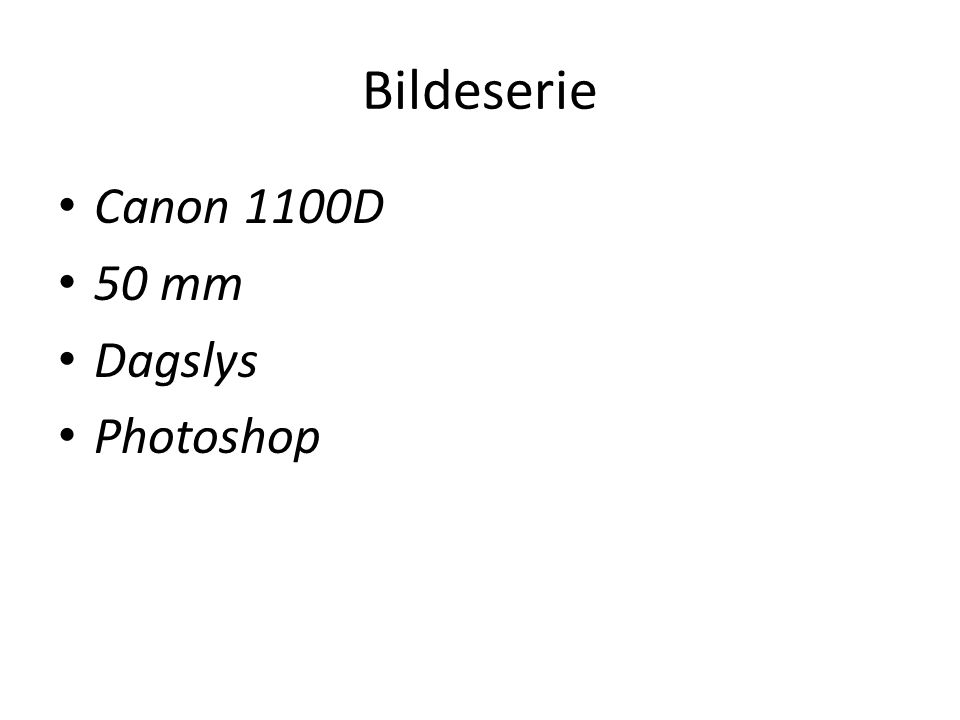 Bildeserie Canon 1100D 50 mm Dagslys Photoshop