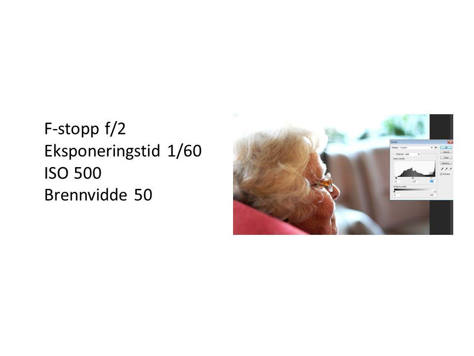 F-stopp f/2 Eksponeringstid 1/60 ISO 500 Brennvidde 50
