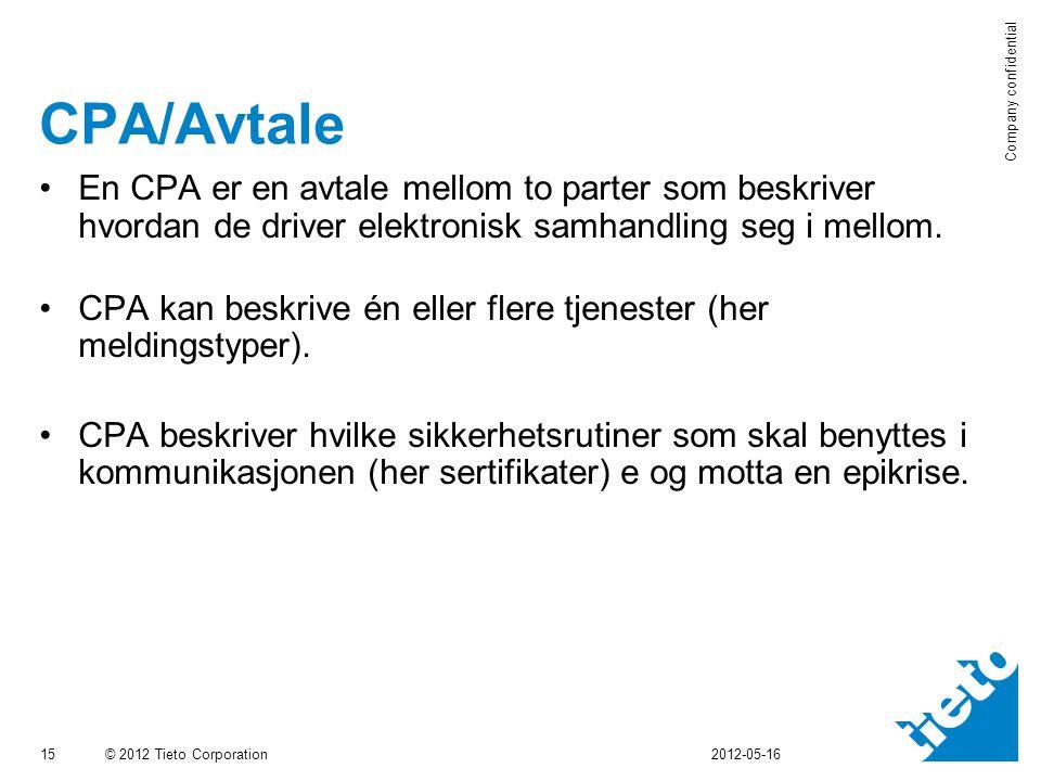 CPA/Avtale En CPA er en avtale mellom to parter som beskriver hvordan de driver elektronisk samhandling seg i mellom.