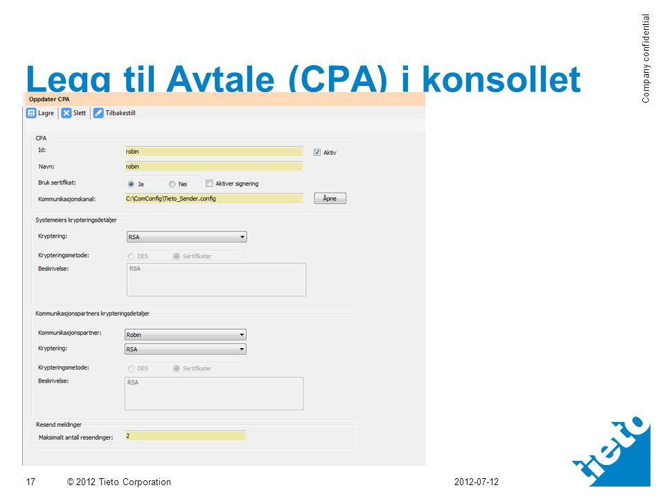 Legg til Avtale (CPA) i konsollet
