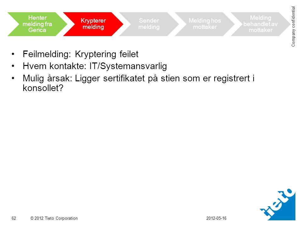 Feilmelding: Kryptering feilet Hvem kontakte: IT/Systemansvarlig
