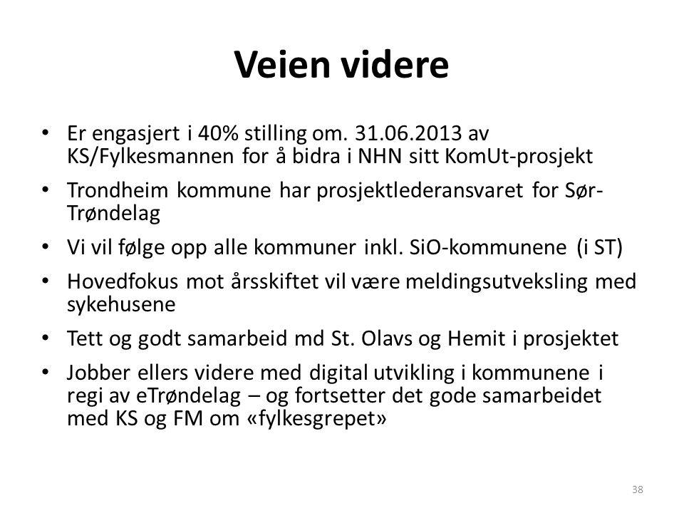 Veien videre Er engasjert i 40% stilling om. 31.06.2013 av KS/Fylkesmannen for å bidra i NHN sitt KomUt-prosjekt.