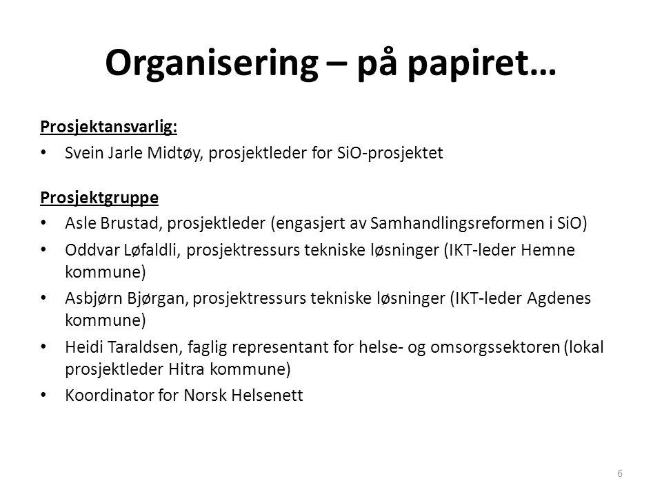 Organisering – på papiret…