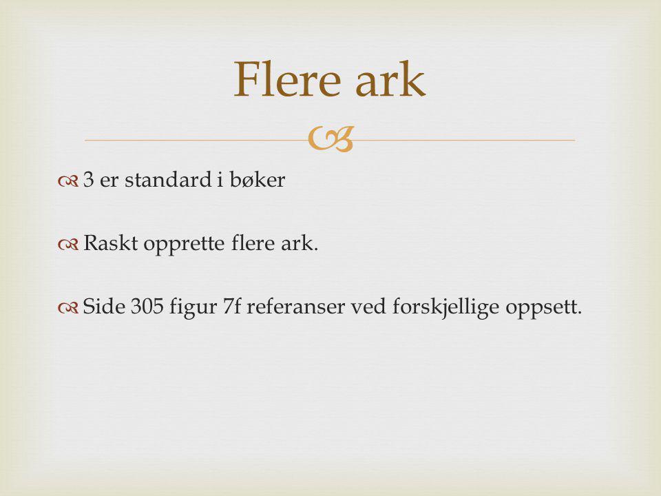 Flere ark 3 er standard i bøker Raskt opprette flere ark.