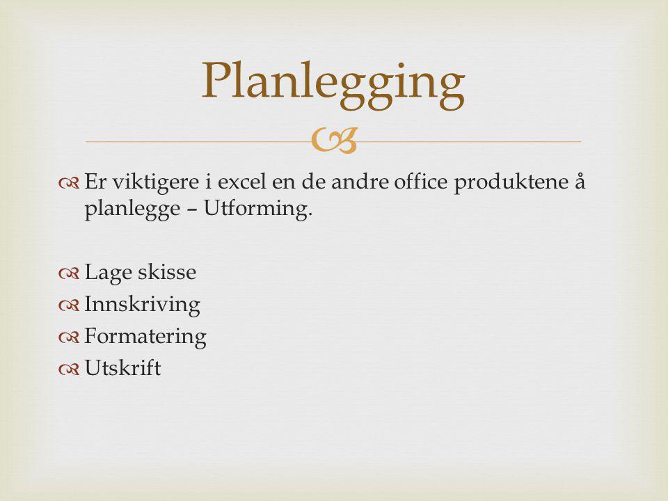 Planlegging Er viktigere i excel en de andre office produktene å planlegge – Utforming. Lage skisse.