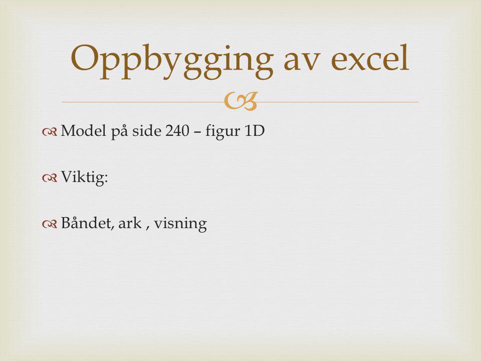 Oppbygging av excel Model på side 240 – figur 1D Viktig: