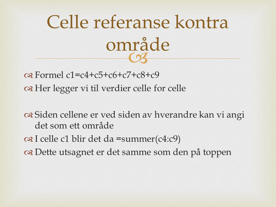 Celle referanse kontra område