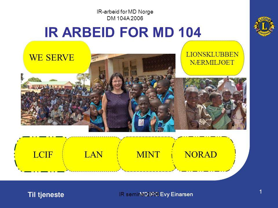 IR ARBEID FOR MD 104 WE SERVE LCIF LAN MINT NORAD LIONSKLUBBEN