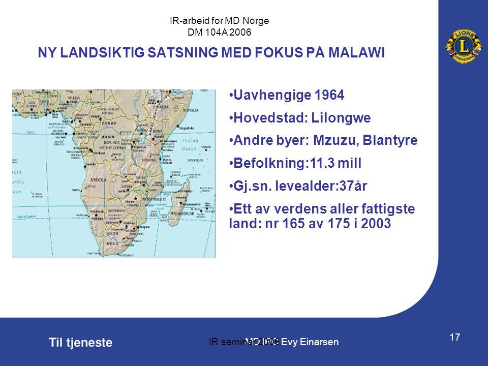 NY LANDSIKTIG SATSNING MED FOKUS PÅ MALAWI