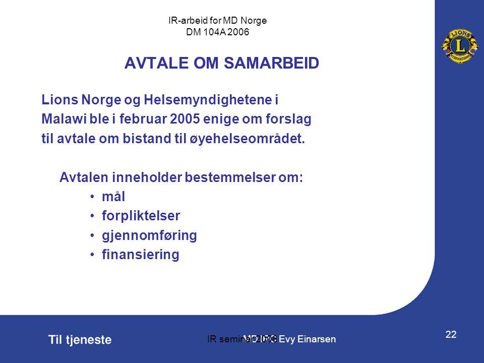 AVTALE OM SAMARBEID Lions Norge og Helsemyndighetene i