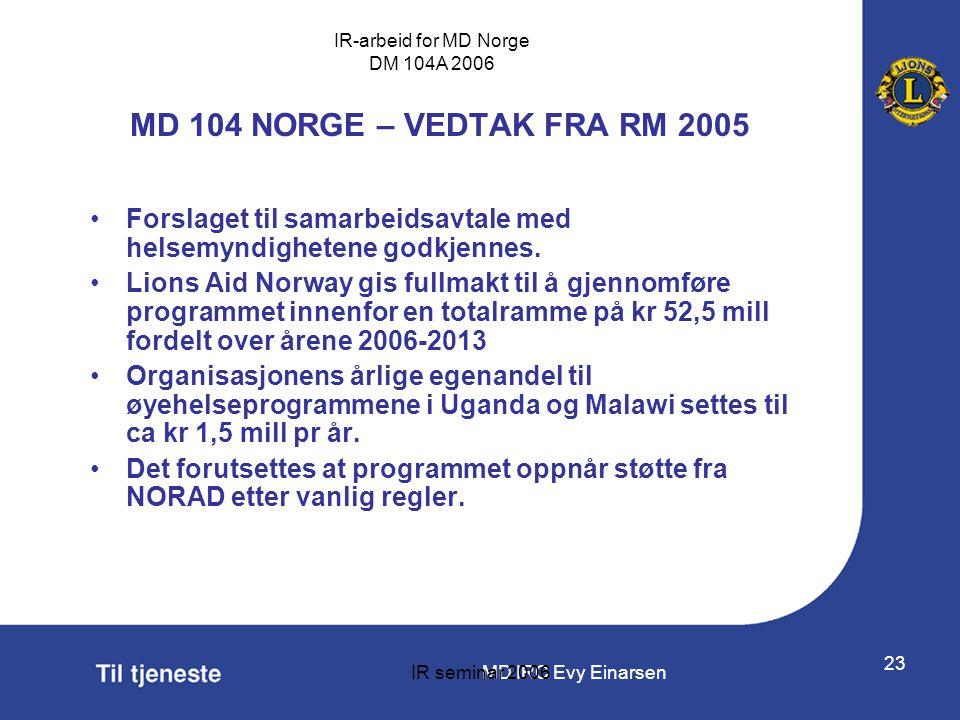 MD 104 NORGE – VEDTAK FRA RM 2005 Forslaget til samarbeidsavtale med helsemyndighetene godkjennes.