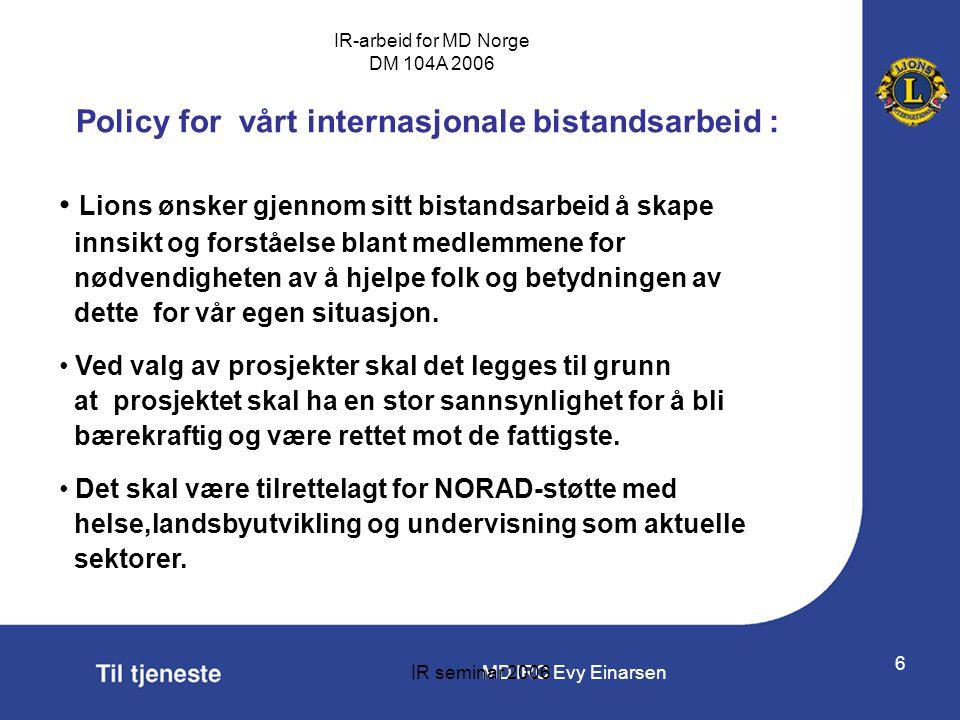 Policy for vårt internasjonale bistandsarbeid :