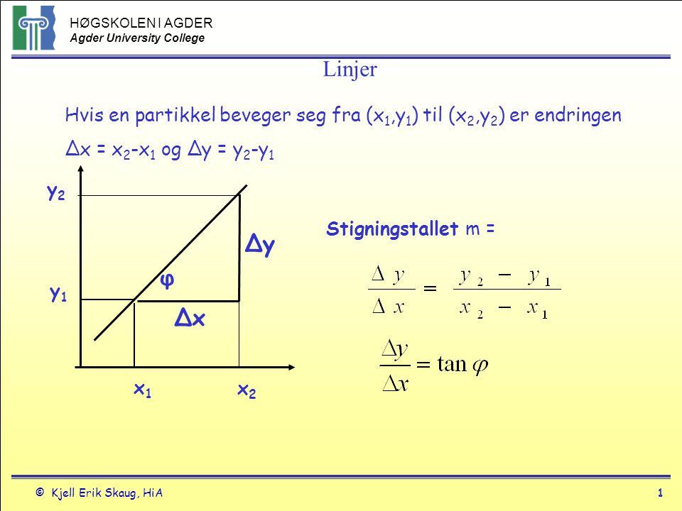 Linjer Hvis en partikkel beveger seg fra (x1,y1) til (x2,y2) er endringen. Δx = x2-x1 og Δy = y2-y1.