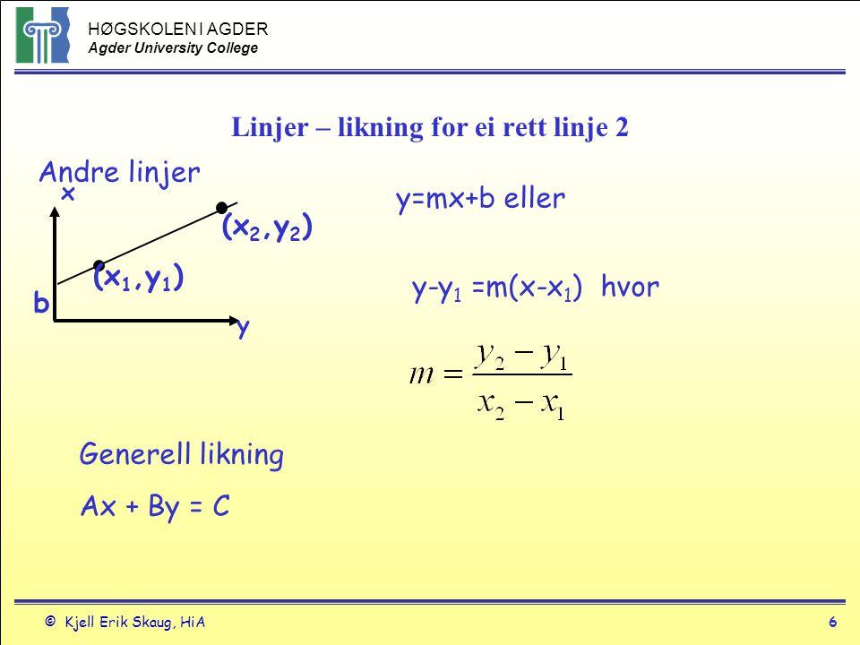Linjer – likning for ei rett linje 2