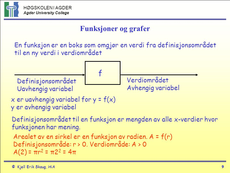 Funksjoner og grafer En funksjon er en boks som omgjør en verdi fra definisjonsområdet til en ny verdi i verdiområdet.