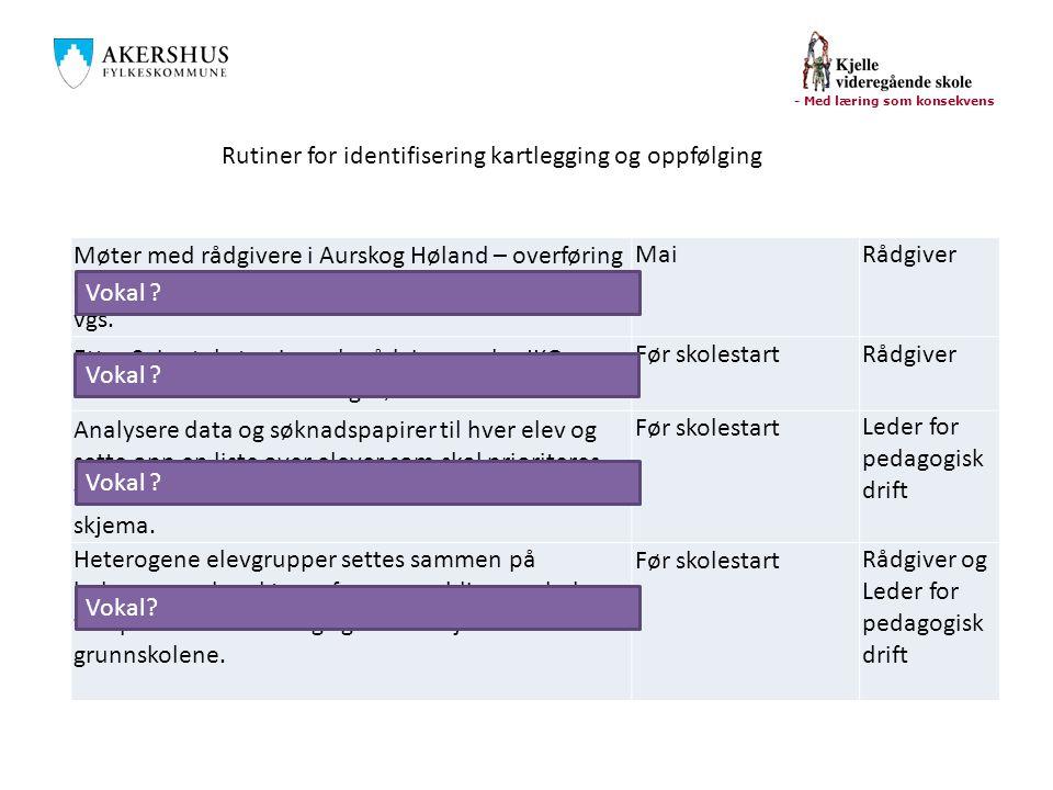 Rutiner for identifisering kartlegging og oppfølging