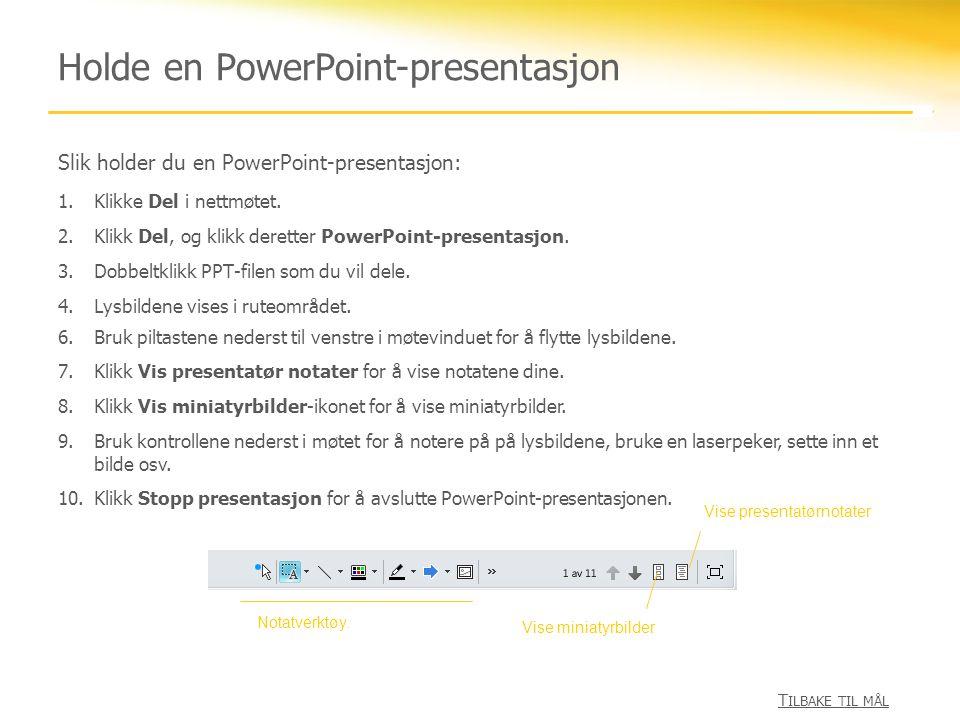Holde en PowerPoint-presentasjon
