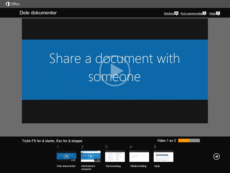 Dele dokumenter Teksting. klikker du ikonet Delt med andre i kolonnen Dele,