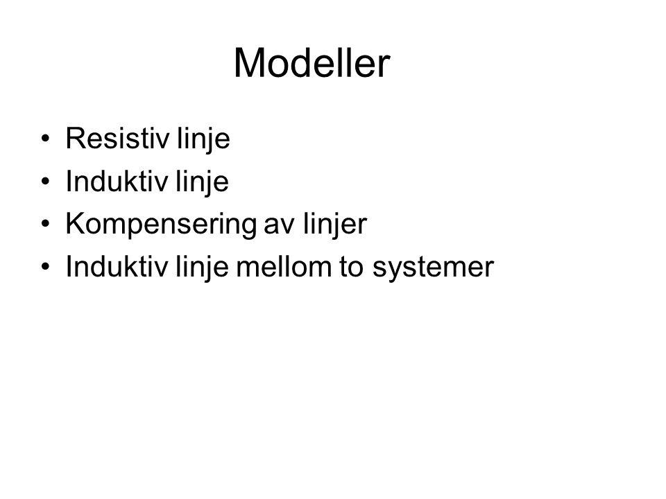 Modeller Resistiv linje Induktiv linje Kompensering av linjer