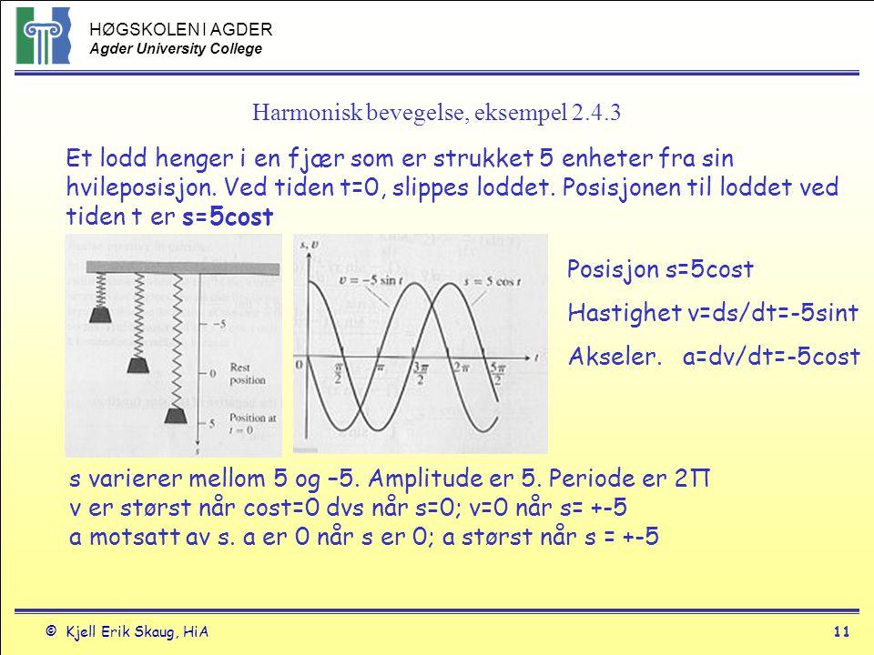 Harmonisk bevegelse, eksempel 2.4.3