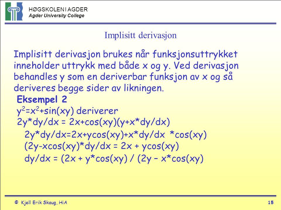 Implisitt derivasjon Implisitt derivasjon brukes når funksjonsuttrykket.