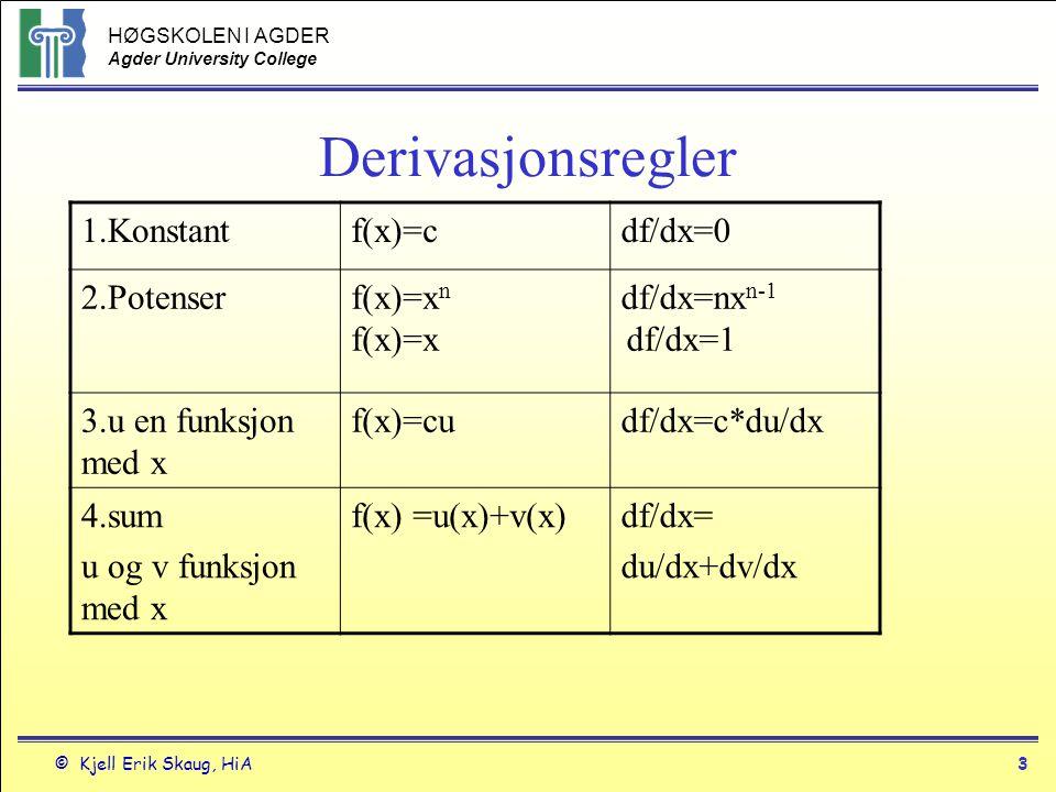 Derivasjonsregler 1.Konstant f(x)=c df/dx=0 2.Potenser f(x)=xn f(x)=x